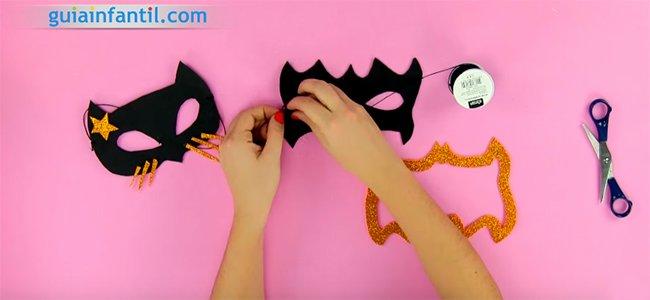 Máscara de Catwoman y Batman. Paso 5