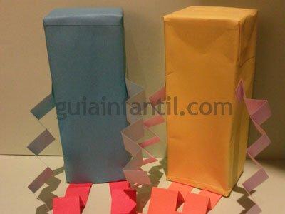 Muñequitos con cajas de cartón. Paso 4.