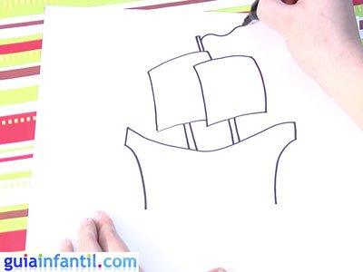 Dibujo de un navío. Paso 3.