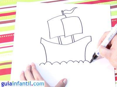 Dibujo de un navío. Paso 4.