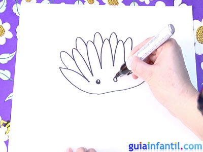Dibujo de un nenúfar. Paso 2.