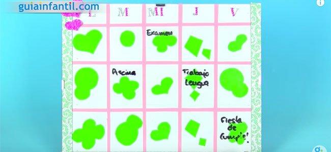 Organizador semanal escolar. Paso 4