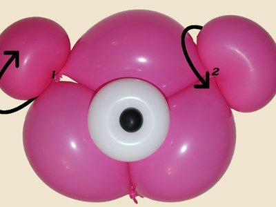 Oso con globos. Paso 3.