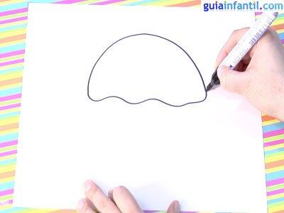 Dibujo de una ostra. Paso 1.