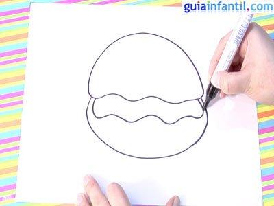 Dibujo de una ostra. Paso 2.