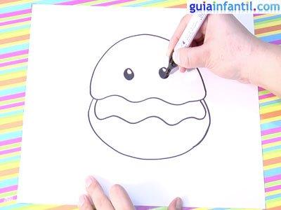 Dibujo de una ostra. Paso 3.
