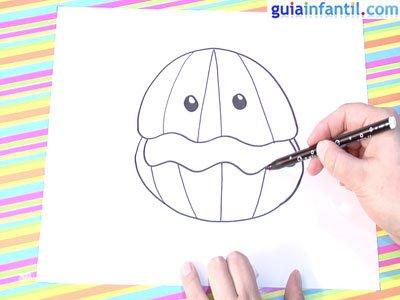 Dibujo de una ostra. Paso 4.