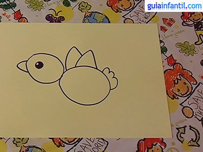 Dibujar un pájaro. Paso 3.