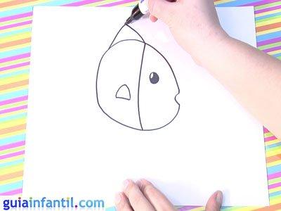 Dibujo de un pez. Paso 2.