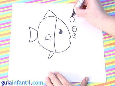 Dibujo de un pez. Paso 3.