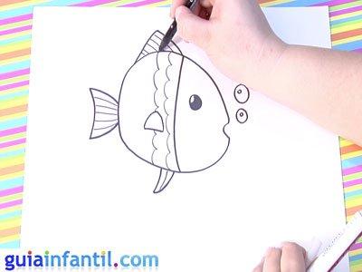 Dibujo de un pez. Paso 4.