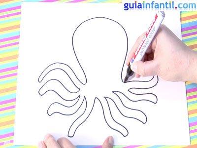 Dibujo de un pulpo.Paso 1.