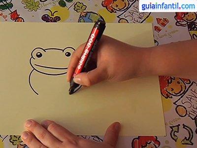 Dibujar una rana. Paso 2.