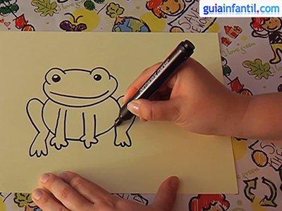Dibujar una rana. Paso 3.