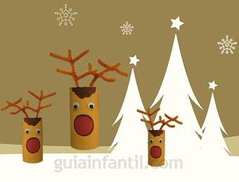 Reno de pap noel con rollos de papel manualidades de navidad - Manualidades faciles de navidad para ninos ...