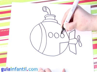 Dibujo de un submarino. Paso 4.