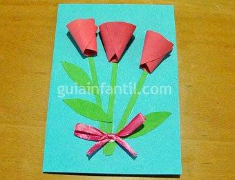 Postal de ramo de campanillas para niños