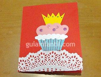 Postal de cupcake para niños