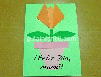 Postal de tulipán en 3D para niños
