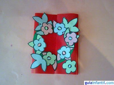 Tarjeta de flores. Paso 5.