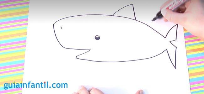 Dibujo de un tiburón. Paso 2.