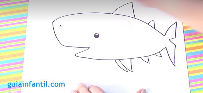 Dibujo de un tiburón. Paso 3.