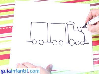 Dibujo de un tren. Paso 2.