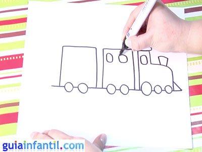 Dibujo de un tren. Paso 3.