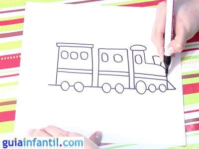 Dibujo de un tren. Paso 4.
