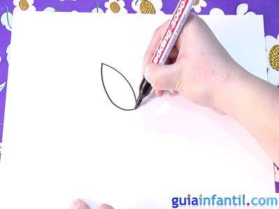 Dibujo de un tulipán. Paso 1.