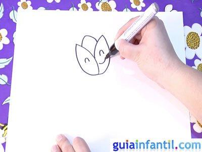 Dibujo de un tulipán. Paso 2.