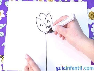 Dibujo de un tulipán. Paso 3.