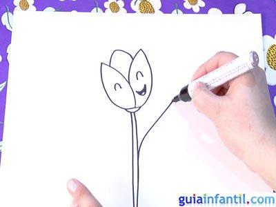 Dibujo de un tulipán. Paso 4.
