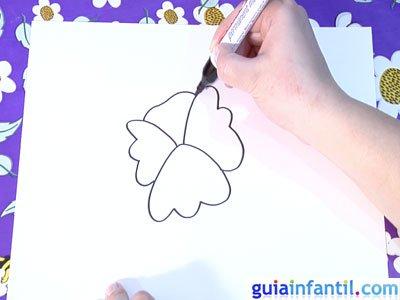 Dibujo de una violeta. Paso 2.