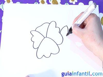 Dibujo de una violeta. Paso 3.