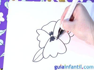 Dibujo de una violeta. Paso 4.