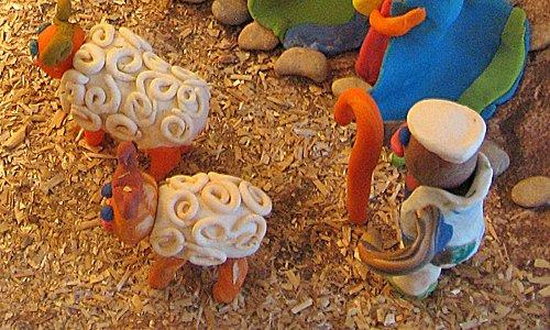 Belén de plastilina: pastor y ovejas