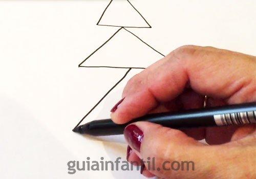 Cómo dibujar un árbol de Navidad. Paso 1