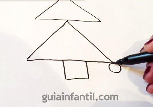 Cómo dibujar un árbol de Navidad. Paso 2