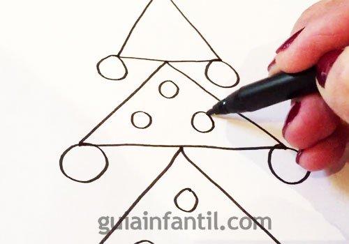 Cómo dibujar un árbol de Navidad. Paso 3
