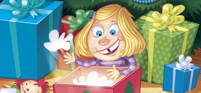 Niña abre regalo de Navidad