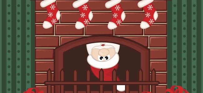 Papá Noel baja por la chimenea