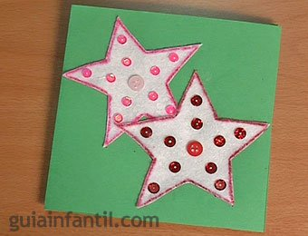 Postal de Navidad con estrellas de fieltro
