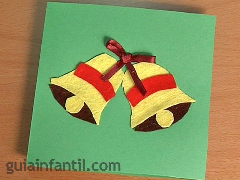 Postal de navidad con campanas manualidades con fieltro - Tarjeta de navidad manualidades ...