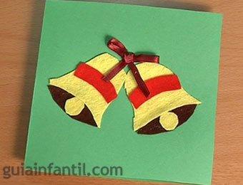 Postal de Navidad con campanas