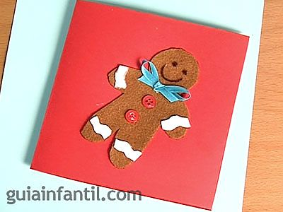 Postal de galleta de jengibre para navidad manualidades - Manualidades tarjeta navidena ...