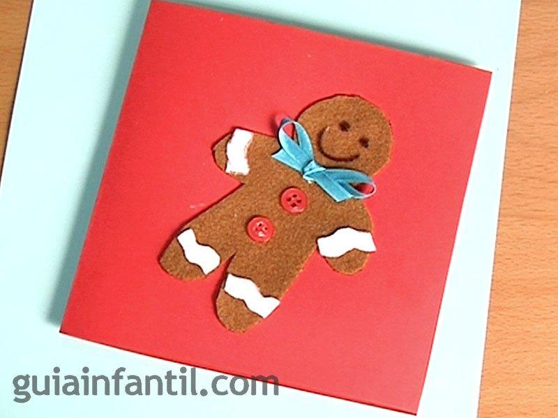 Postal de galleta de jengibre para navidad manualidades - Tarjeta de navidad para ninos manualidades ...