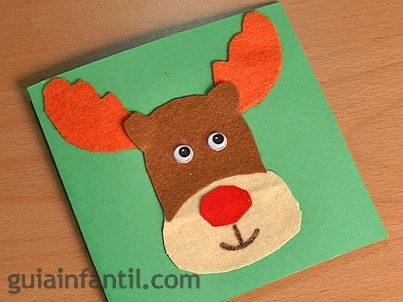 Postal de reno de navidad manualidades con fieltro - Hacer una postal de navidad ...