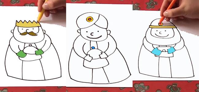 Cómo dibujar a los reyes Baltasar, Gaspar y Melchor