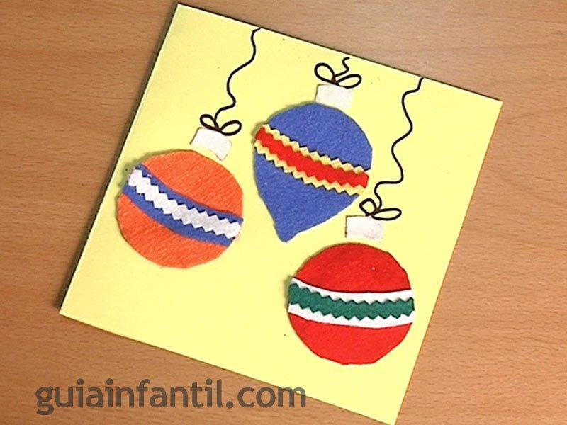 Postal de bolas de navidad manualidades con fieltro - Postal navidena infantil ...